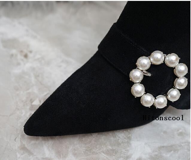Troupeau Sexy 3 Picture Perles Cm Talon Haute Stiletto Bout As Chaussures Nouveau Femme 7 Femmes Bottes Cheville 2019 35 Pointu Noir gx5UnqwtYR