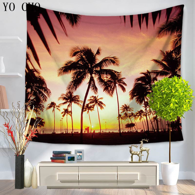 Yo Cho Sunshine Joy Epic Tropical Paradise Surf Wave Palm Tree Tapestry Tablecloth Beach Sheet