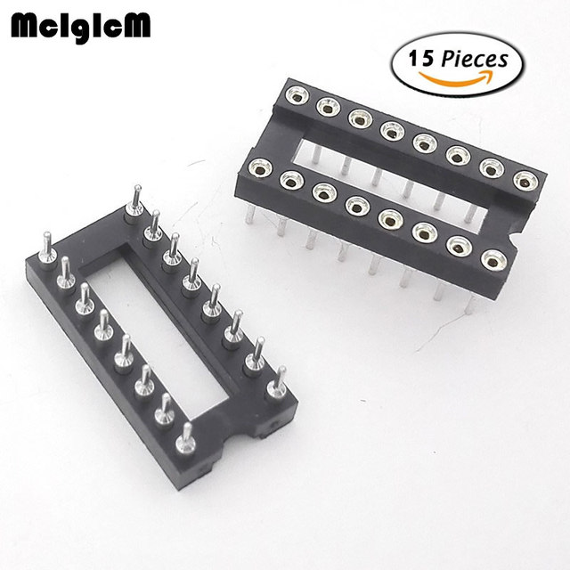 MCIGICM 15pcs Round Hole 16 Pins 2.54MM DIP IC Sockets Adaptor Solder Type IC Connector