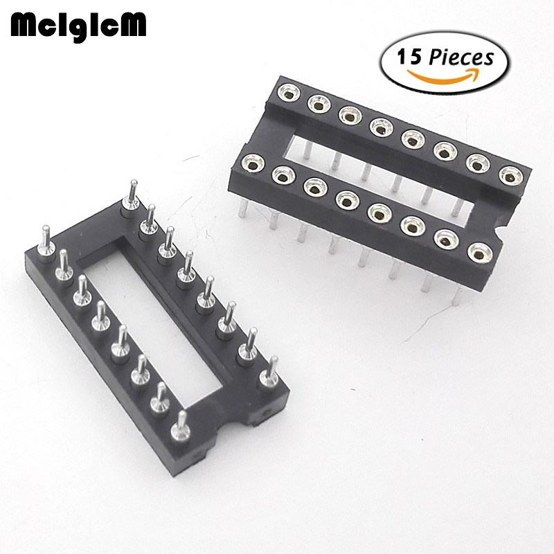 MCIGICM 15pcs Round Hole 16 Pins 2.54MM DIP IC Sockets Adaptor Solder Type IC Connector