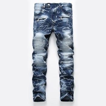 New Brand Mens Snow Designer Fashion Slim Skinny Moto Biker Casual Jeans Straight Motorcycle Jeans Men Destroyed Denim Trousers 1