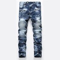 New Brand Mens Snow Designer Fashion Slim Skinny Moto Biker Casual Jeans Straight Motorcycle Jeans Men Destroyed Denim Trousers