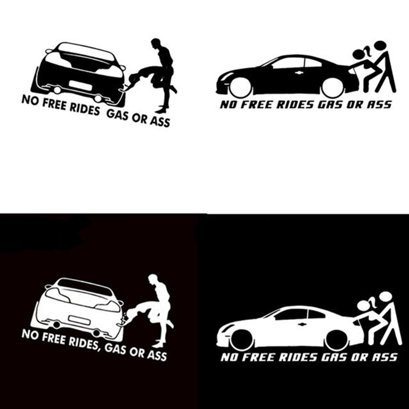20*8CM GAS OR ASS No Free Rides Funny Vinyl Decals Car Sticker Window Bumper Body Car Styling Decorating