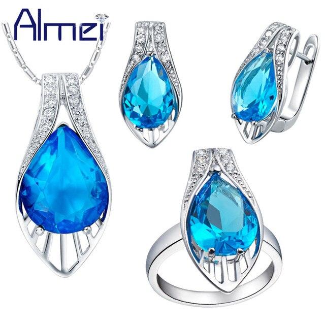 Almei Bijoux Silver Jewelry Sets Rhinestone Bijouterie Crystal Brinco Vintage Earrings Pendant Rings Necklace Set For Women T219