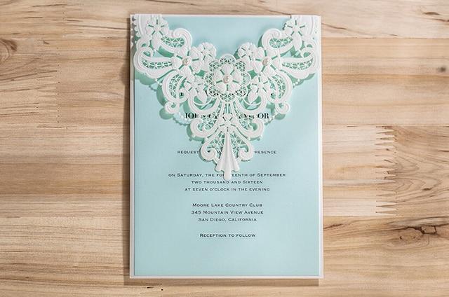 White Laser Cut Wedding Invitation Cards Flower Lace Wedding