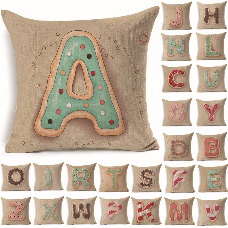 1pcs Letter Pattern Cotton Linen Throw Жастығы Жастығы Seat Car Home Decorating Sofa Decor Сәндік жастықша 40163