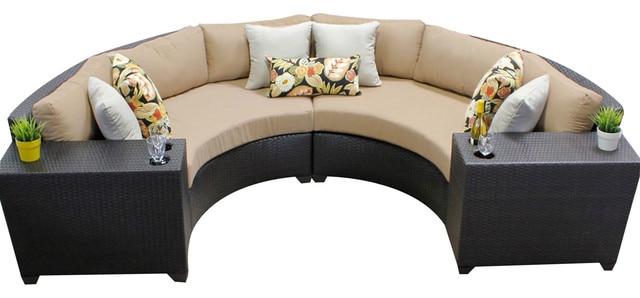 all weather 4 piece outdoor wicker patio furniture half round sofa set
