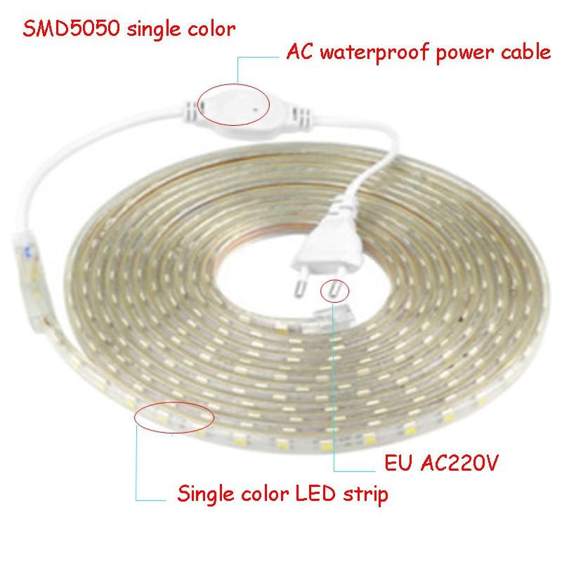 220 V LED Strip Light With EU Plug 5050 Waterproof 1to100m  220V Ribbon Tape Lamp Stripe Warm  White Blue White Green Red