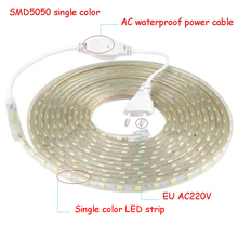 цены 220 V LED Strip Light with EU Plug 5050 Waterproof 1to100m  220V Ribbon Tape Lamp Stripe Warm  White Blue white green red