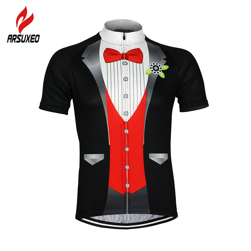Цена за 2017 ARSUXEO Мужчины Велоспорт Джерси Велосипед С Коротким рукавом Джерси Mountaion Clothing MTB Джерси Рубашки Майка SS511