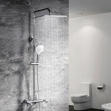 HIDEEP High-end Brass Rain Shower Set Shower Rain Shower Tube Brass Chrome Bath Shower Head Faucet One Button Three Control