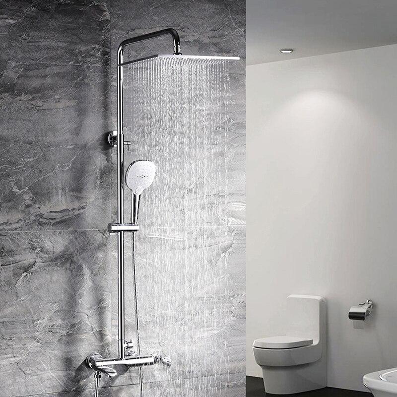 HIDEEP ensemble de douche de pluie en laiton haut de gamme douche Tube de douche de pluie en laiton chromé robinet de tête de douche de bain un bouton trois commandes
