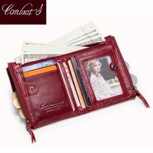 Image 2 - Vendita calda 2020 portamonete con cerniera portafoglio donna portafogli in vera pelle borsa moda borsa corta con porta carte di credito Hasp Design