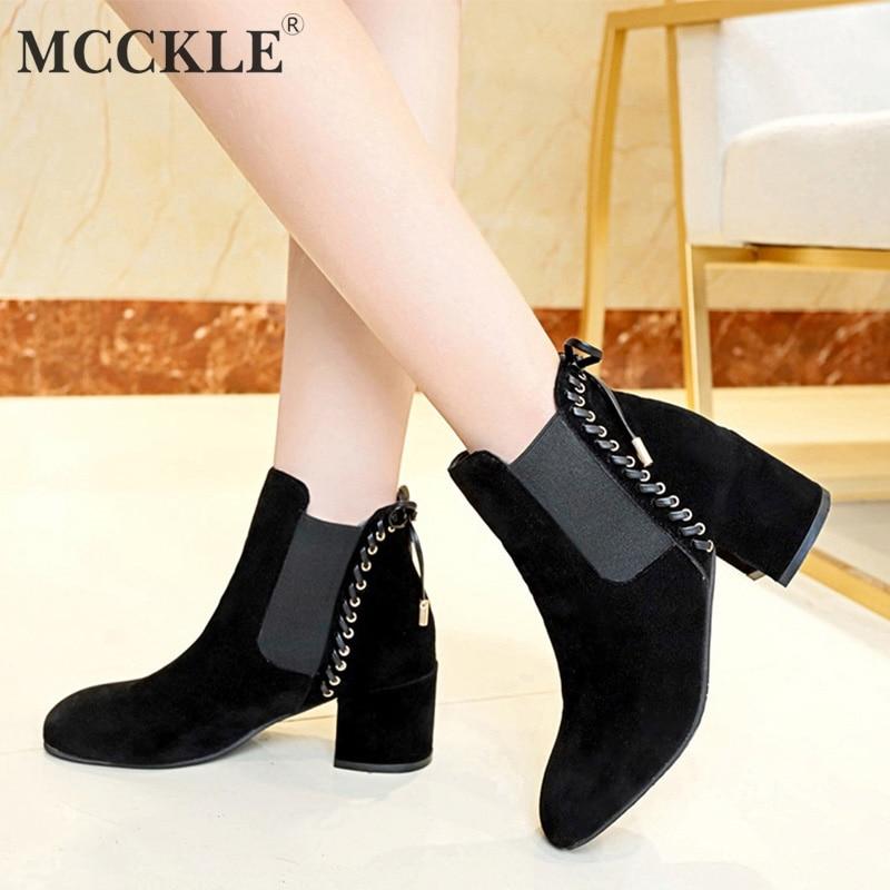 4f97c5feacb043 Doux Élastique Black Mode khaki Pour Bout D'hiver En Rond Peluche Femme  Bottes Mujer Bowtie Bande Cheville Talons Chaussures ...
