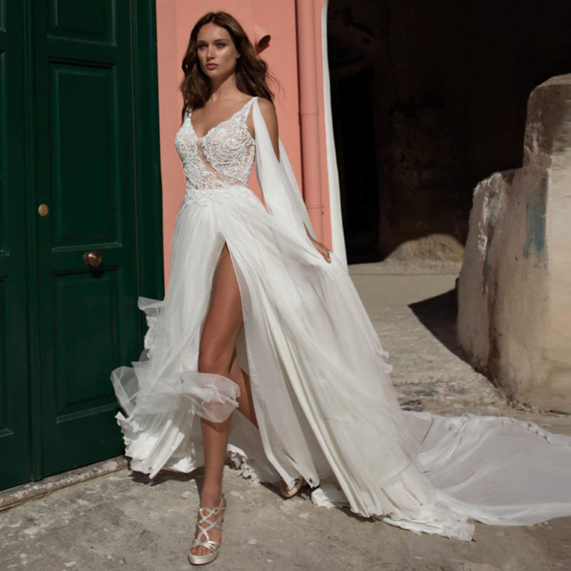 LORIE Beach Wedding Dresses 2019 Appliqued with Lace High Split White Ivory Princess Wedding Gown Bridal Gowns Free Shipping Платье