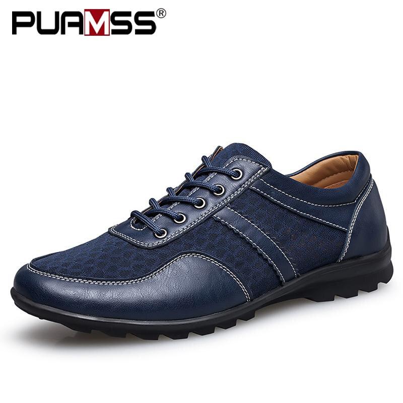 Men's Shoes Cut Out England Genuine Leather Flats Men Casual Shoes Breathable Boat Shoes Zapatos De Hombre Plus Size 47