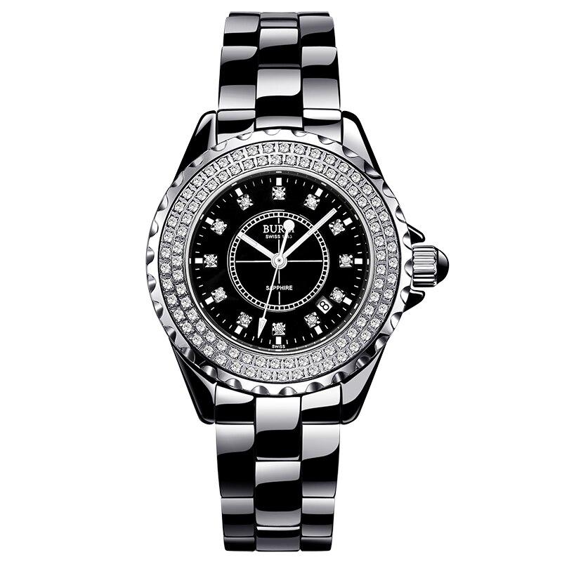 BUREI 18003 Switzerland watch women luxury brand J12 series Austria diamond Ceramic calendar Double black relogio feminino карабин black diamond black diamond rocklock twistlock