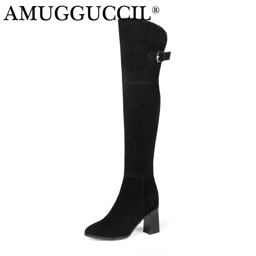 2018 New Cow Suede High Quality Plus Big Size 34-45 Black Buckle Zip Over The Knee Thigh High Autumn Winter Women Boot X1709 the new high quality imported green cowboy training cow matador thrilling backdrop of competitive entrance papeles