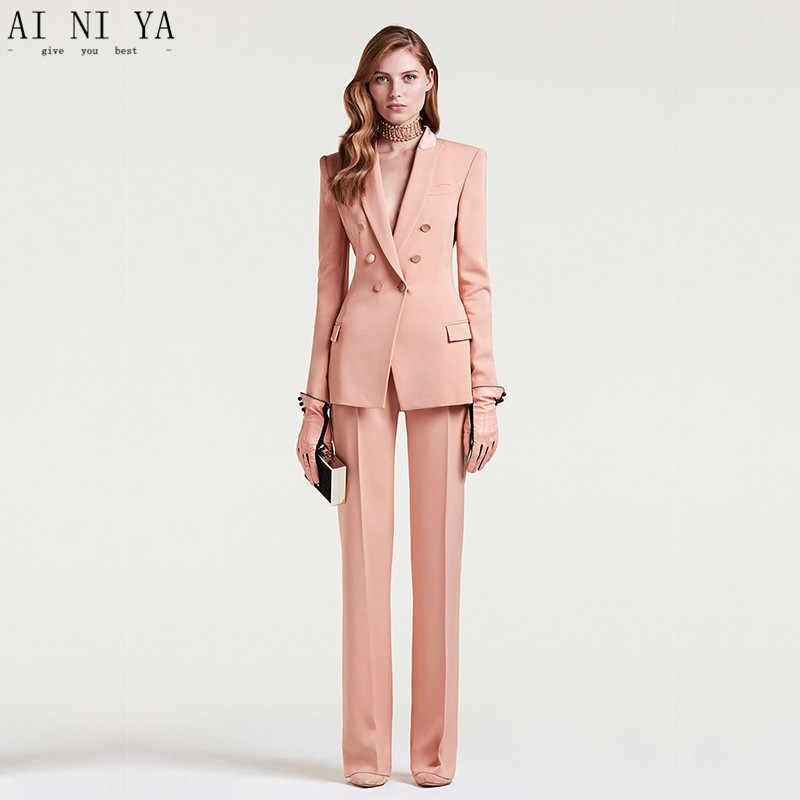 0c7c0ae53e0 Индивидуальный заказ 2018 для женщин бизнес костюмы двубортный женский офис  форма дамы формальные брючный костюм Плоть