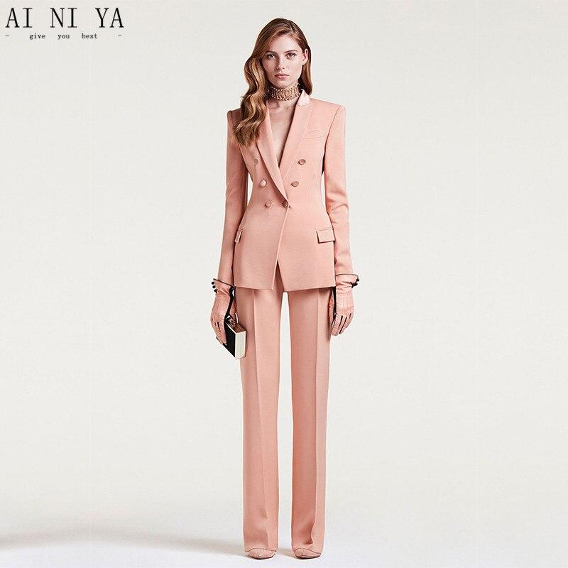 2018 femmes d'affaires costumes Double boutonnage femme bureau uniforme dames formelle pantalon costume chair rose 2 pièces ensemble