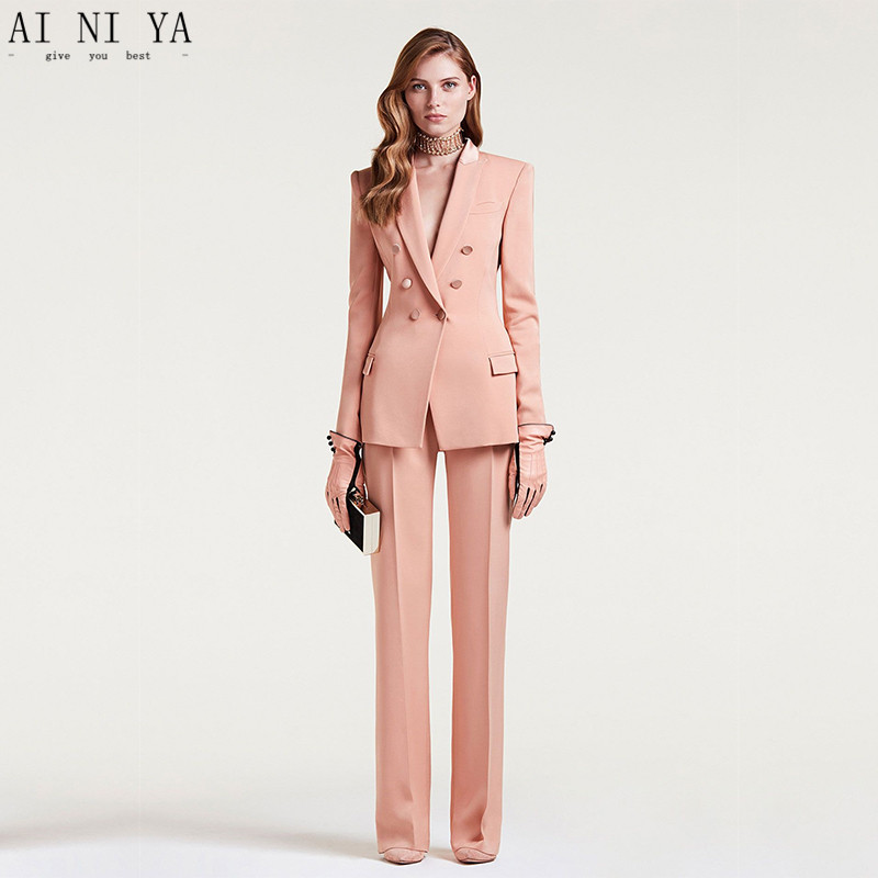 Custom Made 2018 Women Business Suits Double Breasted Female Office Uniform Ladies Formal Trouser Suit Flesh Pink 2 Piece Set