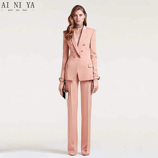 fddda8695623 Custom Made 2018 Women Business Suits Double Breasted Female Office Uniform Ladies  Formal Trouser Suit Flesh Pink 2 Piece Set