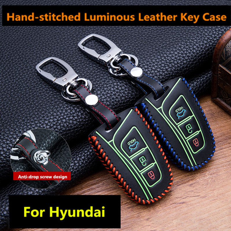 Leather Smart Key Holder Case Cover For Hyundai New Genesis Sedan 2015~2016+