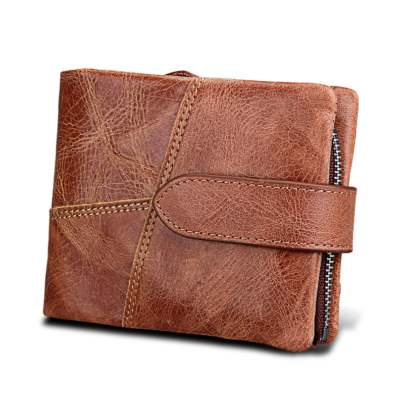Genuine Leather Mens Bifold Wallet Coin Purse Male Cuzdan Walet Portomonee Rfid PORTFOLIO Vallet Money Bag Card Holder Purse