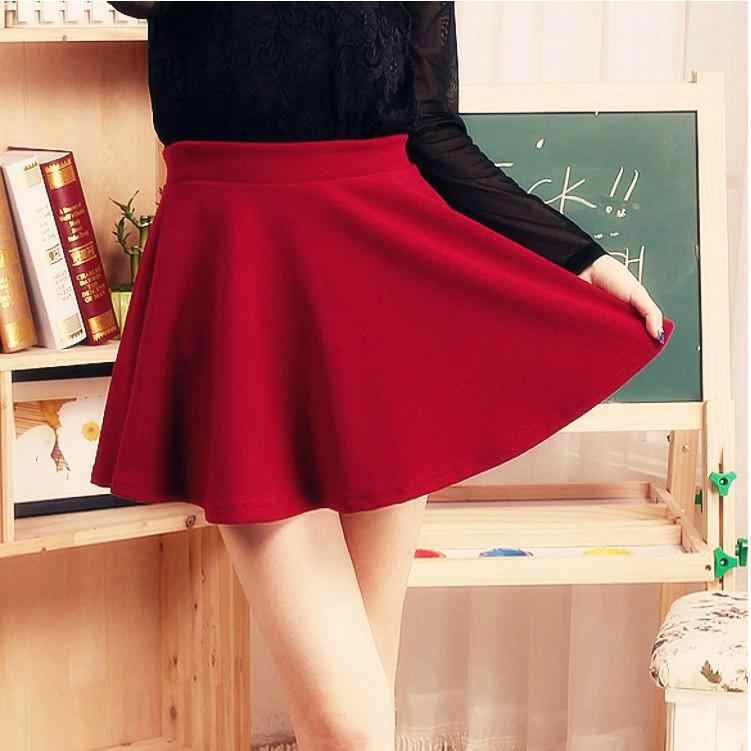 4518549aa86 ... Liva Girl High Waist Elastic Mini Skirts with Safety Pants Women Casual  A-line Pleated