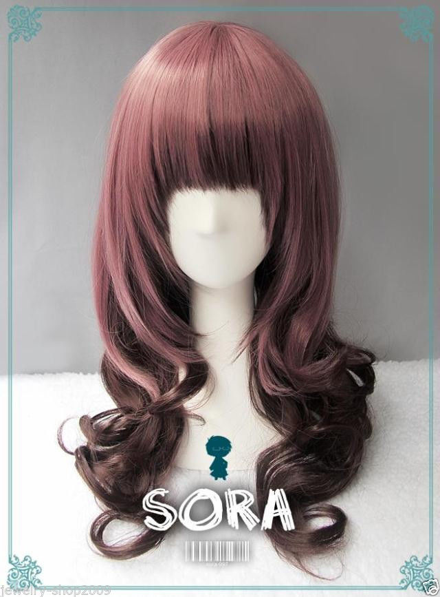 New wig Cosplay Lolita Long Purple Gradient Curly Heat Resistant Wig
