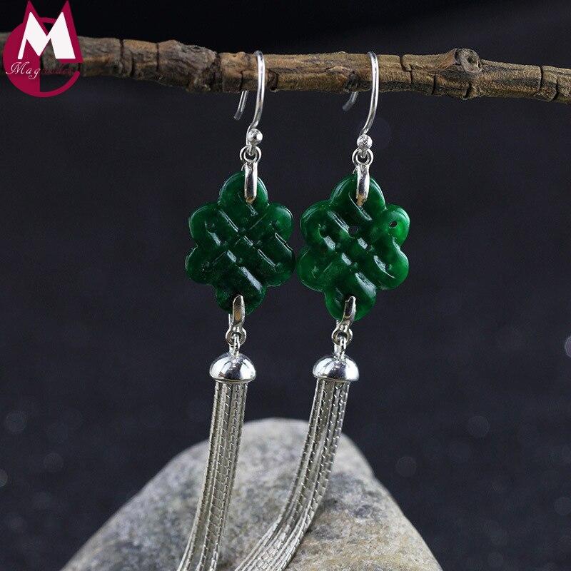 Chinese Knot Natural Jade Earrings 100% 925 Sterling Silver Drop Earrings For Women Jewelry Ethnic Fine Long Tassel Earring SE93