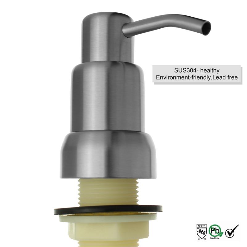 Nickel brushed sus 304 stainless steel kitchen sink liquid soap dispenser hand pump bottle 17oz - Brushed nickel soap dispenser pump ...