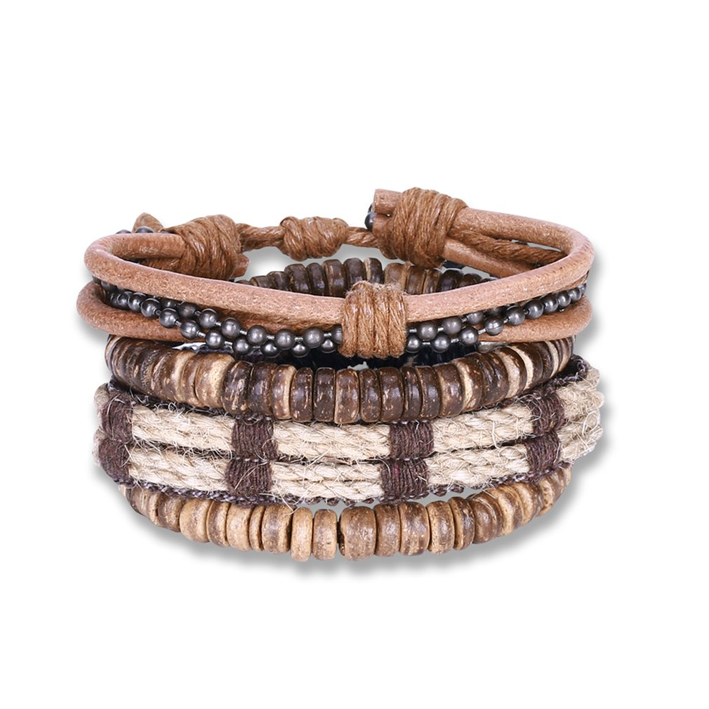 Punk Style Combination Bracelet Stylish Multilayer Braided Bracelet Personality Hand Chain Vintage Jewelry for Men Women