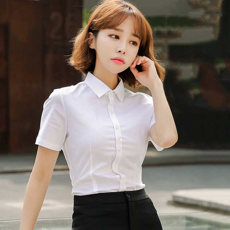 Summer Plus Size White work Shirt Female Big Sizes Short Sleeve women Shirt Fashion Blouse Tops blusas mujer de moda