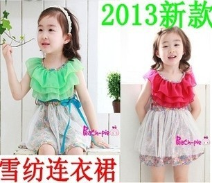 Children's chiffon dress fashion White gauze chiffon floral sleeveless strapless dresses of the girls