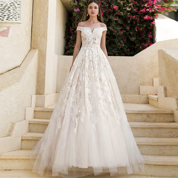 White Ivory Wedding Dress Tulle A Line Bridal Gown Lace Appliques Top Off The Shoulder Backless Wedding Dresses abiti da sposa in Wedding Dresses from Weddings Events