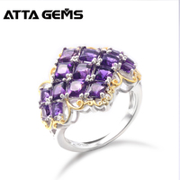 Natural Amethyst Sterling Silver Rings for Lover's Wedding Band Special Design 8.5 Carats Natural Amethyst Princess Cutting