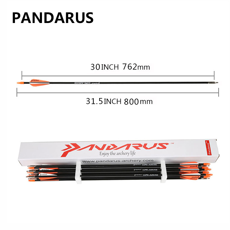 PANDARUS 6 12 24 PCS lot Fiberglass arrows 30 Inches Spine 700 Darts Bow shotting Archery arrow feather plastic in Darts from Sports Entertainment