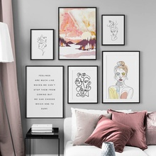 Abstract Line Body Art Forest Girl Quotes Nordic Posters And Prints Wall Canvas Painting Pictures For Living Room Decor