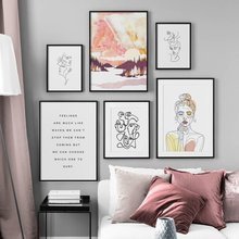 Abstract Line Body Art Forest Girl Quotes Nordic Posters And Prints Wall Art Canvas Painting Wall Pictures For Living Room Decor