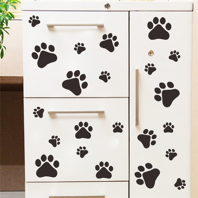 cartoon Dog Cat Walking Paw Print Wall Stickers For Kids Rooms Decal Pet Room Decoration WallArt Bowl Car home decal poster