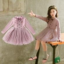חדש 2019 נערות שמלות למסיבה וחתונה ארוך שרוולים תחרה נסיכת בגדי מסיבת יום הולדת תלבושות ילדי בגדים