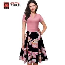 summer dress 2017 women Ladies V Neck Cocktail Party Casual summer fashion Slim printing dresses  Dress