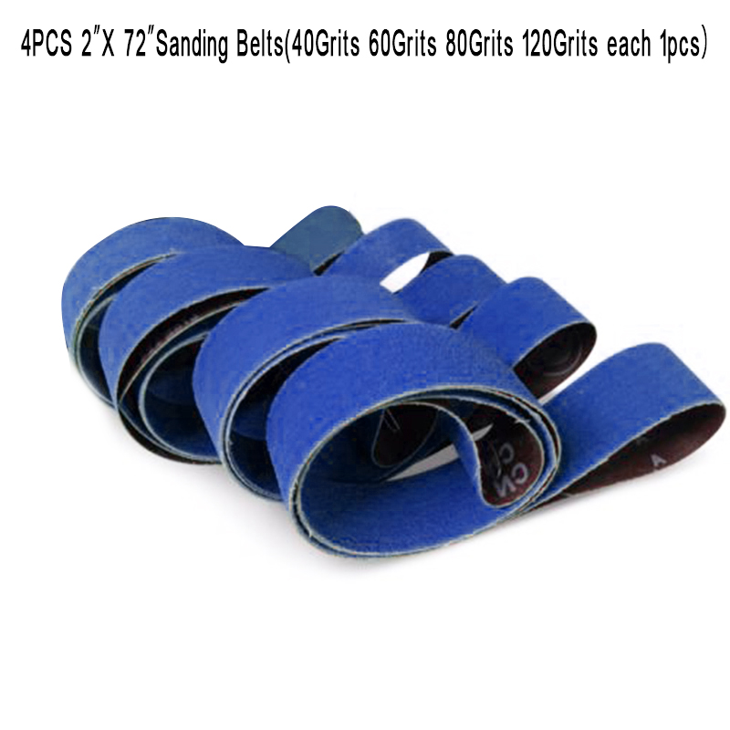 4 Pcs 2X72 Ceramic Sanding Belts Band Coarse Grinding 40/60/80/120 Girts Blue