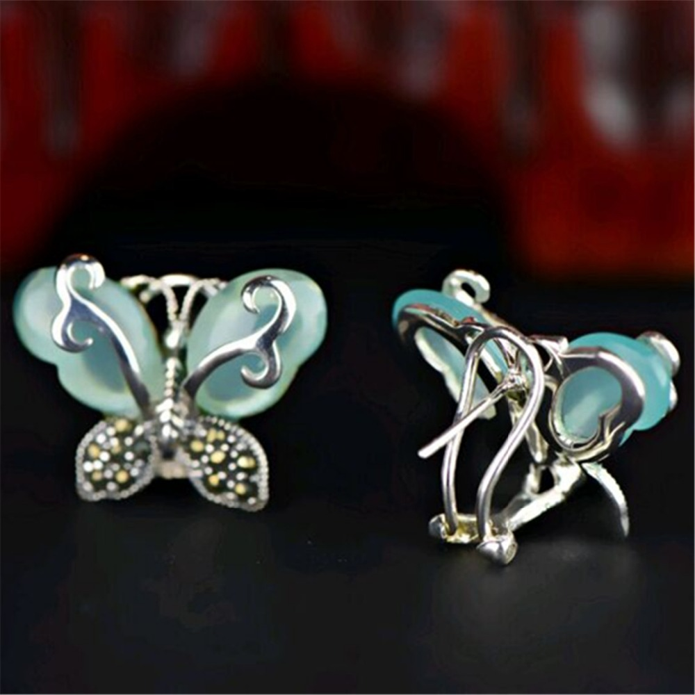 Aliexpress Green Chalcedony 925 Sterling Silver Vintage Marcasite Earrings With Natural Stones Chrysoprase Erfly For Womens Jewelry From
