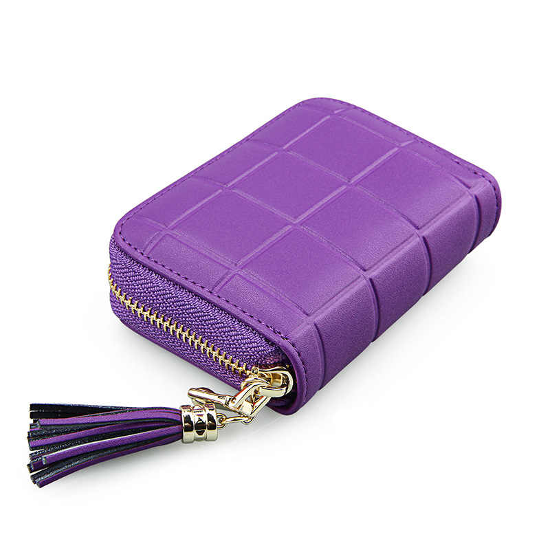 high quality tassel pendant anti-magnetic RFID cow leather card set cute purse organ women small card holder wallet female purse