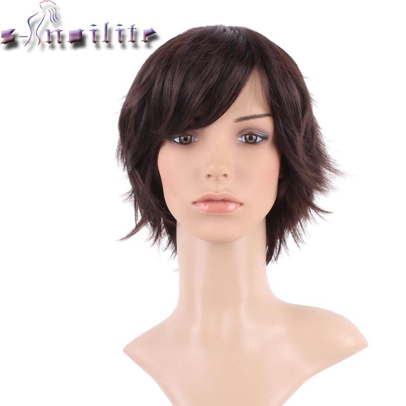 S-noilite шовковистий прямий косплей партії волосся перуки темно-коричневий синтетичний повний голову короткий перуку для жінок