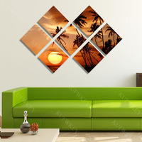 7pcs 3d Diy Diamond Painting Beach At Sunset Multi Picture Cross Stitch Full Square Diamond Embroidery