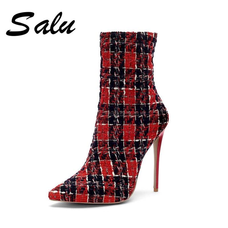 11 Moda 13 Mujeres Tacón Estrecha Tamaño Salu Ladies Alto 14 Zapatos Sexy Punta De rojo blanco púrpura 12 Botas Chelsea Tobillo Negro Nuevas Cremallera w85UqaFnYU