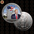 WR Silver Coin American 45th President Donald Trump Coin US White House The Statue of Liberty Silver Metal Coin Collection